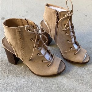 Suede Taupe Ankle Lace Up Booties